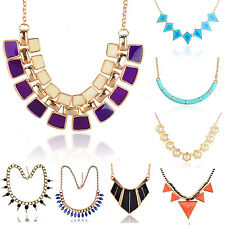 Mixed Fashion Pearl Enamel Chain Party Bib Spike Collar Pendant Necklace ZSZ212