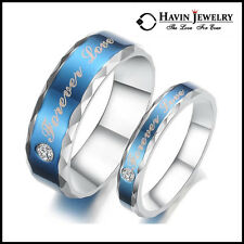 "His and Hers Stainless Steel Couple Wedding Engagement Rings ""Forever Love"" Free"