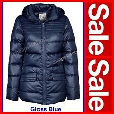 ※033※UK 8 / EU 36 GLOSS Down Puffa Wet Look Hooded Coat / Jacket
