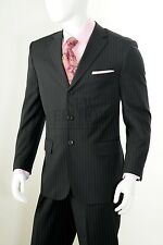Vittorio St Angelo Men's 3 Button Pin Stripe Regular Fit Suit Style A63TRS Black
