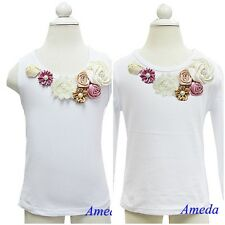 Glamorous Beige Dusty Pink Rosettes Wedding Vintage Garden Flower Girl Tee Shirt