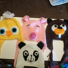 Woman / Mens Crocheted Animal Hats Beanie  Beaver Duck Pig Panda