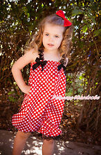 Black Lace Strap Minnie Red White Polka Dots Loose Pant Baby Girl Romper NB-4Y