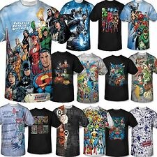 Men Marvel DC Comic Book Tee T-Shirt Short Sleeve Justice League Superman Batman