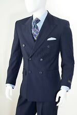 Cooper&Nelson Men Peak Lapel Double Breasted Solid Regular Fit Suit B662KR Navy