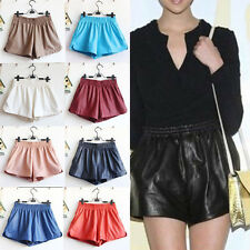Sexy Ladies Women Elastic Waist Loose Faux Leather Shiny Hot Mini Shorts Pants