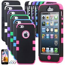 Colorful PC Shockproof Dirt Dust Proof Hybrid Hard Rubber Cover Case for iPhone5