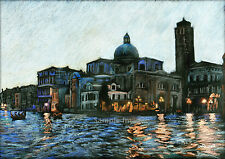 "A4 A3 A2 ""Venice by Dusk"" Italy Art Print of Original Drawing from RussellArt"