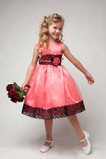 Coral & Black Flower Girl Dress ,Girls Party Dress , Satin & Organza Size 2 to12