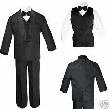 Baby Toddler Kid Teen Boy Wedding Formal Shawl Lapel Tuxedo Black Suit S-4T 5-18