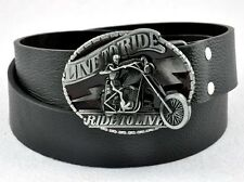 Motorcycle LIVE TO RIDE Skull Men Boy Totenkopf Biker Rider Leather Belt Buckle