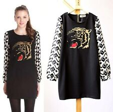 Tiger Head Embroidery Geometry  Long Sleeve Stitch T-shirt  Short Dress