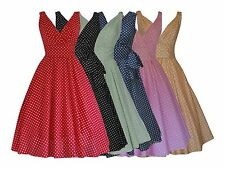 LADIES RETRO VINTAGE 50s STYLE POLKA DOT PIN UP BELTED FLARED DRESS BNWT 8-20