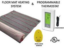 30 Sqft, MAT ELECTRIC RADIANT WARM  FLOOR TILE HEATING SYSTEM + THERMOSTAT, 120V