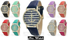 Ladies Geneva Gold Trim Striped Anchor Design Leather Watch Free Shipping