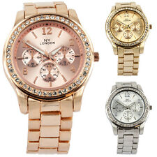 Shining Crystal Bezel Fashion NY London Sexy Ladies Celebrity Metal Strap Watch