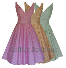 LADIES 1950's VINTAGE STYLE PASTEL POLKA DOT FLARED DRESS 3 COLOURS BNWT 8 - 20