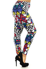 Yellow ABSTRACT AZTEC TRIBAL leggings pants thick PONTI Polyester S M L GREAT