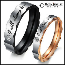 """Stainless Steel Ring Wedding Engagement Set Promise """"I will always be with you"""""""