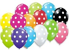 12 POLKA DOT PARTY BALLOONS U Pick Black White Red Yellow Lime Pink Blue 12""