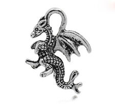 Wholesale HOT! Jewelry Silver Tone Winged Dragon Charm Pendants 21x14mm