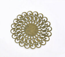 Wholesale HOT! Jewelry Bronze Tone Filigree Round Wraps Connectors 37x37mm
