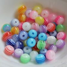 8MM Resin Round Bubblegum Ball Bead Chunky Stripe Spacer Bead Charm Free Ship50X