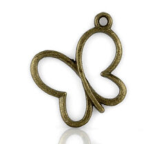 Wholesale DIY Jewelry Bronze Tone Butterfly Charm Pendants 24x20mm