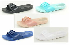 SALE LADIES SPOT ON SLIP ON MULE JELLY SHOES WITH DECORATIVE BUCKLE FRONT F10270