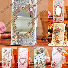 Bling Leather Flip Wallet Case Cover for Samsung Galaxy S3 and S4 Mobile Phones