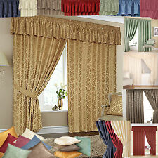 CHEAP LINED READY MADE CURTAINS - MATCHING PELMETS & TIE BACKS - 8 GREAT COLOURS