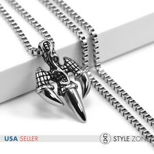 Men's Stainless Steel Casting The Trident Claw 3D Pendant Punk Cool Necklace P38