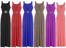 WOMENS BUCKLE LONG EVENING MAXI PARTY DRESS LADIES SLEEVELESS PLUS SIZE 8-26