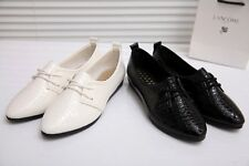 2014 New Lady Women Spring Summer Fashion Lace-Ups Black Faux Leather Flat Shoes