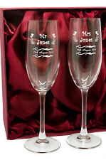 Engraved Pair Mr and Mrs Champagne Glasses Flutes, Personalised Wedding Gift