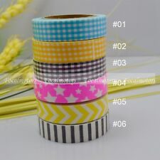 15mm Printing Fabric Washi Tape Decorative DIY Tape Sticker Grid Stars Stripe 1p