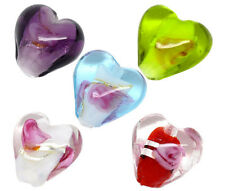 50 Mixed Lampwork Glass Color-Lined Foil Heart Beads