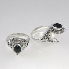 Bali Design 925 Sterling Silver Poison Pill Box Black Onyx Ring (RG14004-BO)