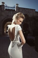 2014 Sexy V Neck Cap Sleeves Backless Lace Mermaid Wedding Dresses Bridal Gown