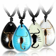 Boys Girls Bug Amber Scorpion Insect Teardrop Charm Pendant Necklace Multi-color