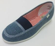 LADIES FREE STEP SLIP ON CANVAS SHOE BLUE 'PATCH'