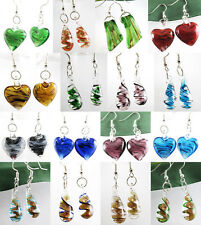 Multi-Styles Heart Teardrop Lampwork Murano Art Glass Pendant Dangle Earrings