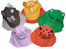 Baby Sun Hat with Animal Character Face and Protective neck Flap 2-6 Years