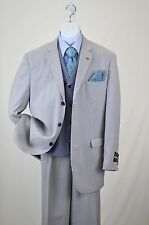 NWT E.J. Samuel 3 Buttons Suit with Vest Striped Blue with Wide Leg Pants Polyry