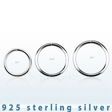 """1pc. 20G~1/4"""", 5/16"""", 3/8"""" 925 Sterling Silver Seamless Clip On Nose Hoop Ring"""