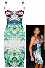 Womens Celebrity Baroque Paisley Print Bodycon Midi Girls Party Crossback Dress