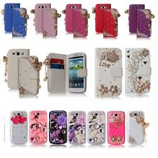 For Samsung Galaxy S3 III i9300 Bling Diamond Luxury 3D Leather/Hard Case Cover