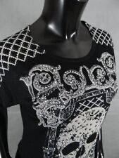 Womens Vocal Skull Face W/Diamond Shape Crystal Shoulders & Rose Lace Back Top!