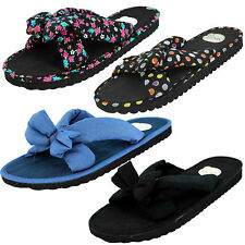 LADIES SPOT ON FABRIC BOW FRONT SLIP ON MULE FLIP FLOP SUMMER SANDALS £3.99