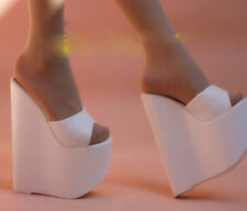 Womens Causals White High Heel Platform Open Toe Wedge Slippers Shoes Sandals SZ